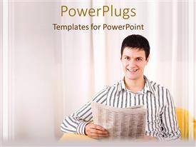 PowerPoint template displaying a man smiling while holding up a newspaper on a white background