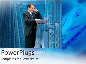 PowerPlugs: PowerPoint template with a man smiling and making a phone call with high buildings