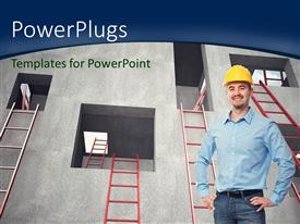 PowerPoint template displaying a man smiling and wearing a construction hat