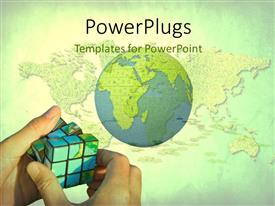 PowerPoint template displaying man solving rubixs with global map over textured grass and green color
