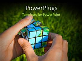 PowerPoint template displaying man solving rubixs with green grass