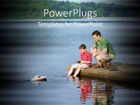 PowerPlugs: PowerPoint template with man and his son sitting and fishing beside a lake