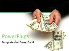 PowerPlugs: PowerPoint template with man spreading out stack of hundred dollar bills on a white table