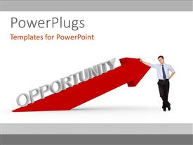 PowerPlugs: PowerPoint template with man standing against red arrow of OPPORTUNITY over white background