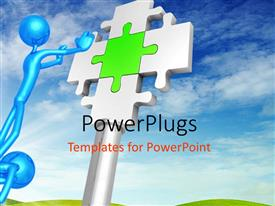 PowerPlugs: PowerPoint template with man standing on another man's shoulder stretches hand to puzzle