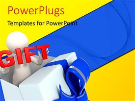 PowerPlugs: PowerPoint template with 3D man stand with gift boxes on colorful background