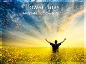 PowerPlugs: PowerPoint template with man standing in a field with outstretched arm to blue sky