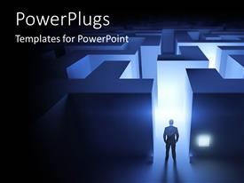 PowerPlugs: PowerPoint template with a man standing in front on a lit maze