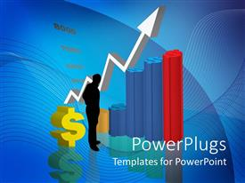 PowerPlugs: PowerPoint template with a man standing near a dollar sign with a multi colored bar chart