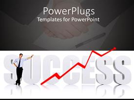 PowerPoint template displaying man standing over 3D SUCCESS text with business men shaking hands