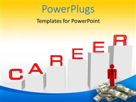 PowerPlugs: PowerPoint template with man standing over dollar stack with career bar chart