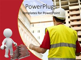 PowerPoint template displaying a man starring at some buildings with a 3D human character