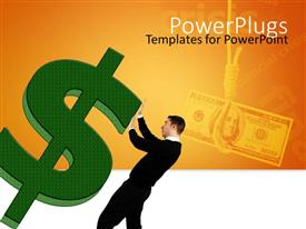 PowerPlugs: PowerPoint template with man struggling to stabilize large green three dimensional dollar sign