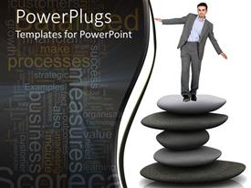 PowerPlugs: PowerPoint template with man in suit balancing on pile of spa stones