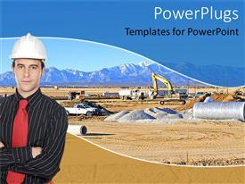 PowerPoint template displaying man in suit, tie, hardhat at busy construction site