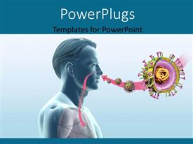 PowerPlugs: PowerPoint template with man with swine flu virus H1N1