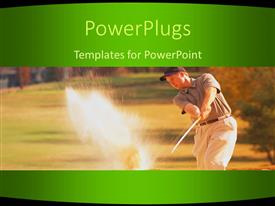 PowerPlugs: PowerPoint template with man swinging golf club in sand trap, green border