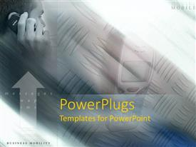 PowerPlugs: PowerPoint template with man talking on cell phone on brown textured background