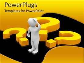 PowerPlugs: PowerPoint template with a man thinking and has a lot of questions to ask