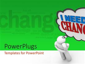 PowerPlugs: PowerPoint template with a person with an idea and greenish background