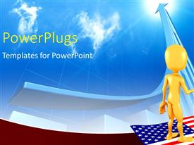 PowerPlugs: PowerPoint template with two 3D characters standing on an American flag and shaking hands
