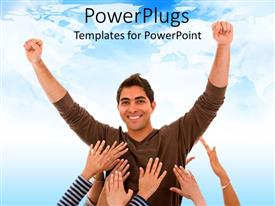 PowerPlugs: PowerPoint template with man in victory pose with several feminine hands reaching to touch him