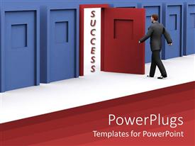 PowerPlugs: PowerPoint template with man about to walk through red door of success in blue corridor