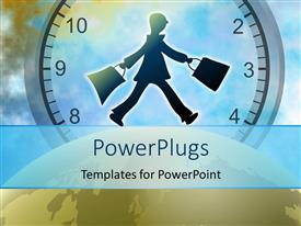 PowerPlugs: PowerPoint template with man walking on earth globe over large clock in background