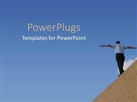 PowerPlugs: PowerPoint template with man walking on wall with arms outstretched for balance
