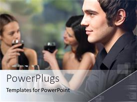 PowerPlugs: PowerPoint template with a man wearing black smiling with two ladies having a drink behind