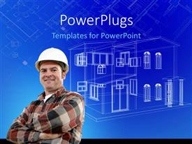 PowerPoint template displaying a man wearing a construction hat smiling with a house plan behind him