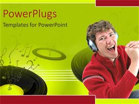 PowerPlugs: PowerPoint template with a man wearing headphones shouting on a green background