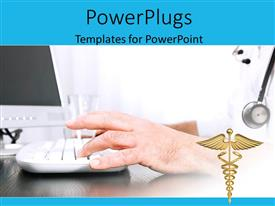 PowerPoint template displaying a man wearing a stethoscope typing on a computer and