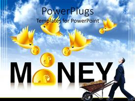 PowerPoint template displaying man with wheel barrow below gold bird dropping coins