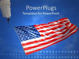 PowerPoint template displaying man with a white parachute holding an American flag