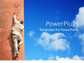 PowerPlugs: PowerPoint template with man in white suit climbing up a brick building on bright blue sky background