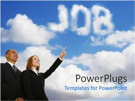 PowerPoint template displaying man and woman in business attire looking at clouds