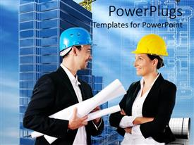 PowerPoint template displaying man and woman in hard hats with blueprints, buildings, architecture, construction, project management