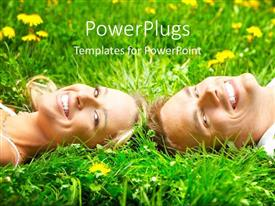 PowerPlugs: PowerPoint template with a man and a woman lying together on a field