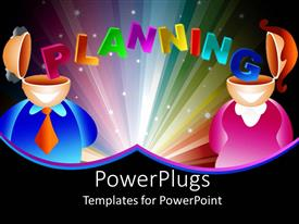 PowerPlugs: PowerPoint template with man and woman with open head tops and colorful word planning stretching from man's head to woman's head