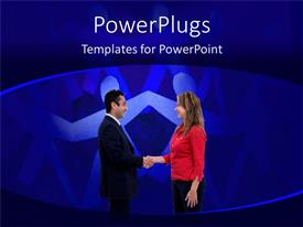 PowerPlugs: PowerPoint template with a man and a woman shaking their hands together
