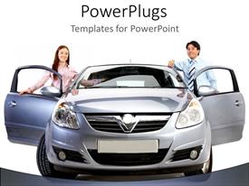 PowerPoint template displaying man and woman standing behind open doors of new car