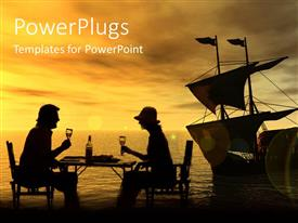 PowerPlugs: PowerPoint template with man and woman with wine glasses at seaside with sailboat in distance