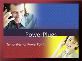 PowerPlugs: PowerPoint template with a man and women talking on their cellphones