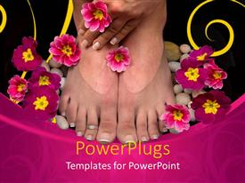 PowerPoint template displaying manicured hands and pedicured feet on smooth pebbles surrounded by purple flowers