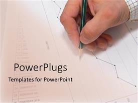 PowerPoint template displaying man's hand holding pencil working on financial graphs