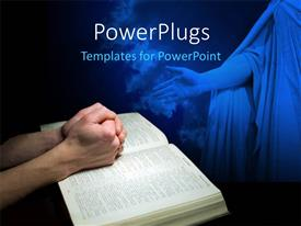 PowerPlugs: PowerPoint template with mans hands clasped in prayer over a Bible with Jesus sculpture