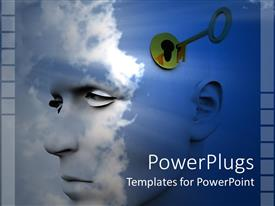 PowerPoint template displaying man's profile against a blue sky with clouds and gold key unlocking his mind