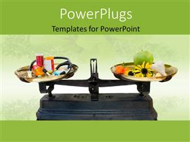 PowerPlugs: PowerPoint template with a manual weight balance scale with drugs and natural elements