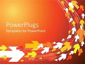 PowerPoint template displaying many colorful arrows pointing same direction in orange background